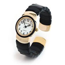 Gold Black Flex Links Band Ladies Bangle Cuff Watch
