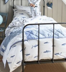 little white company cot bedding NEW - shark pattern