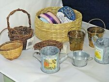 CRAFT LOT-4 BASKETS,5 SPOOLS  RIBBON,3 BUCKETS, 2 WATER TINS,14 PIECES IN ALL,