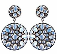 925 Sterling Silver Moonstone Drop Dangle Diamond Pave Earrings Handmade Jewelry