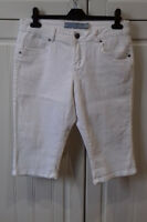 'brand new' size 12 top quality expensive white cropped 3/4 length cotton jeans