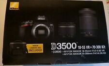Nikon D3500 24.2 MP Digital Camera - Black (Kit 18-55mm VR & 70-300mm) w/bag NEW