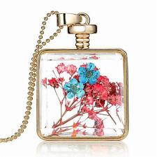 Elegant Gold Pink Blue Dried Flowers Square Perfume Bottle Pendant Necklace N387