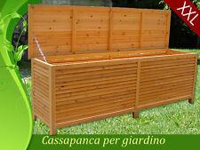 Box Cassapanca Baule Legno Esterno Giardino Interno Acciaio INOX XXL 170x58x50cm