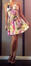 Cache Floral Print MultiColor Halter Dress Empire Bust Balloon Silk 8/M/L Pastel