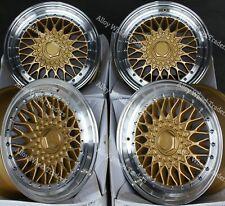 "15"" RS Gold Alloy Wheels Fits Bmw e21 e30 Chevrolet aveo corsa lanos 4x100"