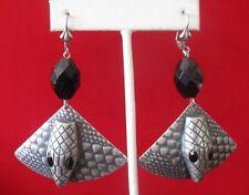 Pair of Vintage French Jet Snake Earrings