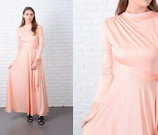 Vintage 70s Orange Hippie Boho Dress Cowl Draped Wrap Maxi XS