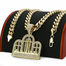 """14k Gold Plated Iced Out Big Last Supper Cz Hip Hop Pendant 30"""" Cuban Link Chain"""