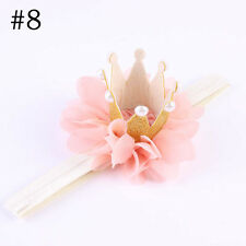2017 Baby Girl Crown Headband Princess Crown Hair Band Pearl Tiara Lace Headwear #8