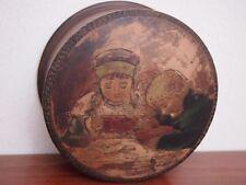 Antique Russian carved painted wooden folk art box Elizaveta Bem young children