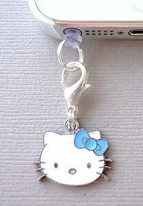 Hello Kitty Blue cell phone Charm Dust proof  Plug ear jack Fits iPhone C6
