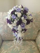 Brides Bouquet & Bout. - Lapis, Lav, & White or In Your Colors Free Shipping