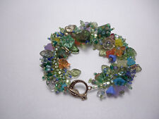 "Bracelet: ""Bouquet"" Czech glass flower and leaf beads from Fringe Magic!"