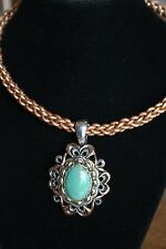 CAROLYN POLLACK 925,TURQUOISE,MIXED METAL, LEATHER NECKLACE 17-20""