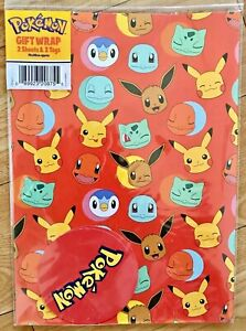 New Pokemon Wrapping Paper (Inc 2 Sheets & 2 Tags)