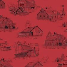 Homestead Red/Black Barn Toile Fabric Material