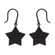Star Of David Black Spinel 925 Sterling Silver Earring Shine Jewelry SHER0686