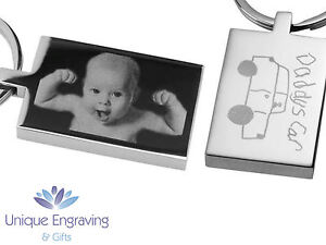 Personalised Photo Engraved Rectangle Keyring Keychain - Great Fathers Day Gift!