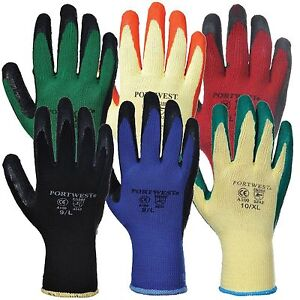 12 Pairs Portwest A100 Grip Latex Palm Safety Work Wear Gloves - Various Colours