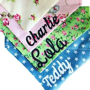 Personalised Dog Bandana, Cream, Pink, Green or Blue Stars, available in 3 sizes