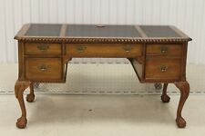 Chippendale Solid Oak Leather Top Ball & Claw Writing Desk