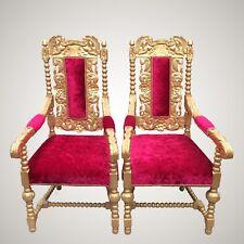 2 Antique Jacobean Oak Golden Throne Chairs / Wedding Party Photography Prop