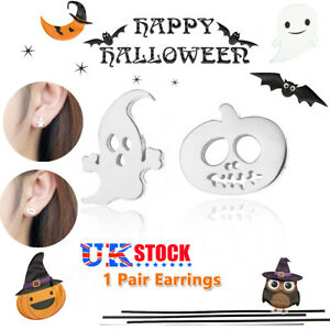 Halloween Ghost And Pumpkin Stud Earrings Costume Jewelry Silver Scary Accessory