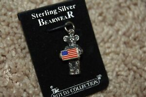 Boyds Bear Sterling Silver Samuel American Flag Bear Necklace Bracelet Charm NEW