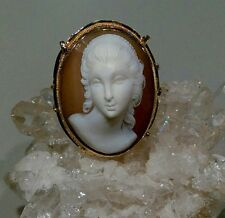 VINTAGE GORGEOUS CAMEO RING IN HIGH RELIEF 14k GOLD - LARGE & SHOWY -Size 7.5