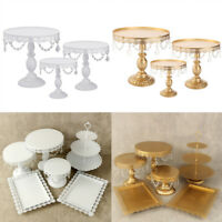 Cake Stand Cupcake Metal Holder Plate Display Tower w/ Crystal for Wedding Party