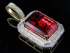 """10K Yellow Gold Royal Red Ruby Simulated Diamond Charm Pendant 1.1"""" .65Ct"""