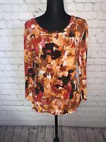 St John Knit Blouse Shirt Top Women's Scoop Neck Long Sleeve Stretch Size M