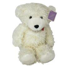VINTAGE OSHKO WHITE FUZZY TEDDY BEAR W/ BOW & TAG STUFFED ANIMAL PLUSH TOY LOVEY