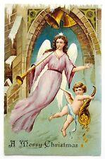 Merry CHRISTMAS Belltower ANGEL in Lavender Postcard EMB ASB