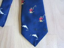 FISHERMAN & Fish Logo Tie by Grenville Made in England