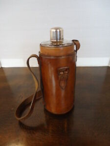 Vintage Silver Top Flask In Leather Case