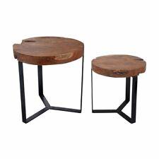 Holztisch 2er Set Teakholz Metall Teakholztisch Tisch Tischset Beistelltisch