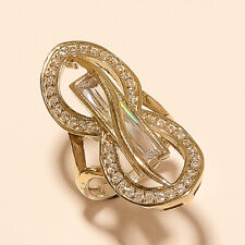 Sterling Silver Statement Jewelry Gifts Natural White Topaz Anniversary Ring 925
