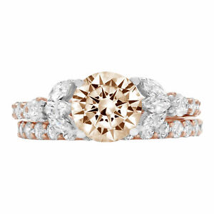 2.72ct Round Champagne Stone 18k Multi-Color Gold Wedding Bridal Ring Band Set