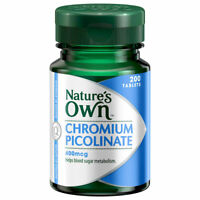 NATURE'S OWN CHROMIUM PICOLINATE 400MCG 200 TABLETS SUPPORTS GLUOSE METABOLISM