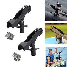 2x 360° Adjustable Side Rail Mount Kayak Boat Fishing Pole Rod Holder Tackle Kit