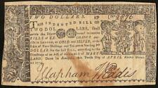 1774 $2 Two Dollar Bill Colonial Currency Nature Print Note Old Paper Money