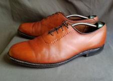 Vintage Men's Tan Calfskin Leather ALDEN 911 Plain Toe Blucher Shoes Size 10.5