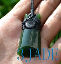 Green Nephrite Jade Hei Toki Pendant Necklace NZ Maori Style Greenstone Pounamu