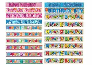 First 1st Happy Birthday Holographic Teddy Bear banner 9ft 2nd 3rd 4th 5th 6th 7