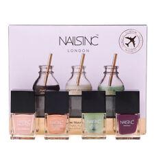 Nails Inc Travel Gift Set with Base Coat Nude Purple Gold Nail Polish Varnish