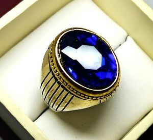 Oval Cut Silver Plated Solid Stunning Blue Sapphire Pretty Ring US Size 11