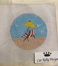 New ListingHandpainted Beach Chair Needlepoint Canvas Christmas Ornament Cat Kelly Designs