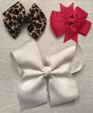 Bow Hair Clips X3 White,Pink&animal Print
